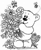 Coloring Flowers Pages Colouring Bear Flower Teddy Bouquet Spring Printable Adult Sheets Bears Template Embroidery Patterns Para Sheet Ursos Stitchery sketch template