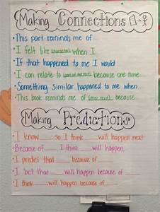 Reading Anchor Charts 1st Grade Making Connections Predictions With Sentence Frames My