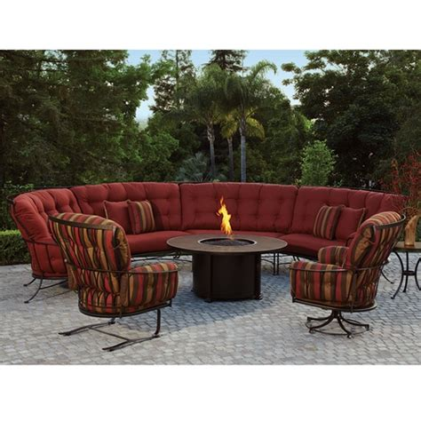 monterra curved outdoor sectional set with pit table