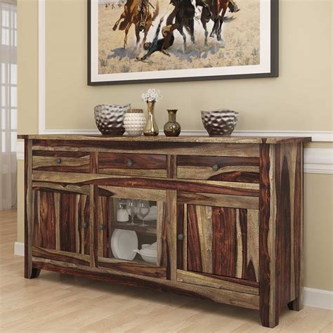 Sideboard With Glass Doors by Frisco Modern Rustic Solid Wood Glass Door 3 Drawer