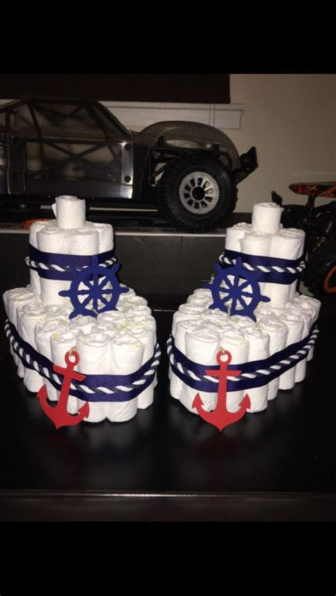 Boat Diaper Cake For Nautical Baby Shower  Party Ideas