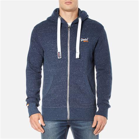 superdry mens orange label zip hoody nautical navy grit