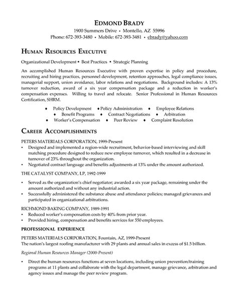 Hr Executive Experience Resume by Hr Executive Resume Exle