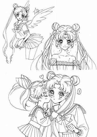 Moon Sailor Princess Crystal Coloring Chibi Colorare