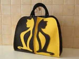 Borse c borsa in feltro con decorazioni seria gatti conlemiemani