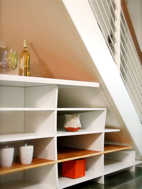 stair shelving under stairs shelves interior design ideas
