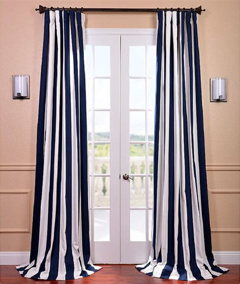 cabana navy stripe cotton curtain panel contemporary