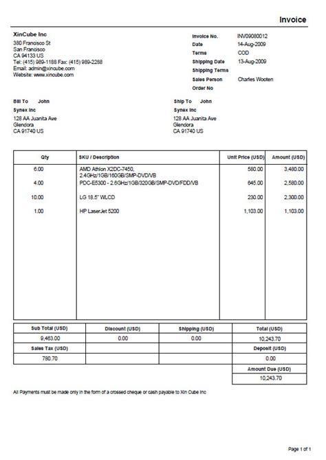 Invoice Template Pdf Invoice Template