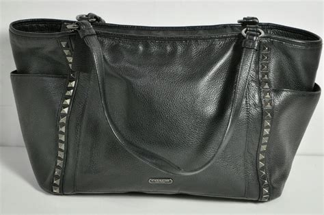 Coach Black Pebble Leather Studded Tote Bag