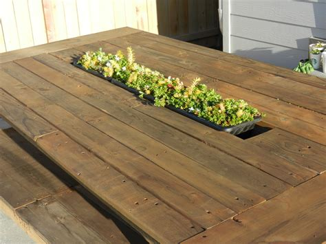 outdoor pallet table  recessed planter box ana white