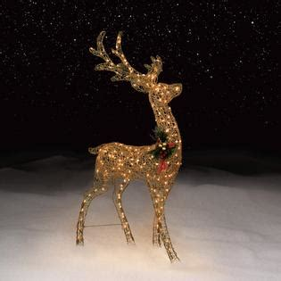 gold glitter reindeer lighted christmas outdoor