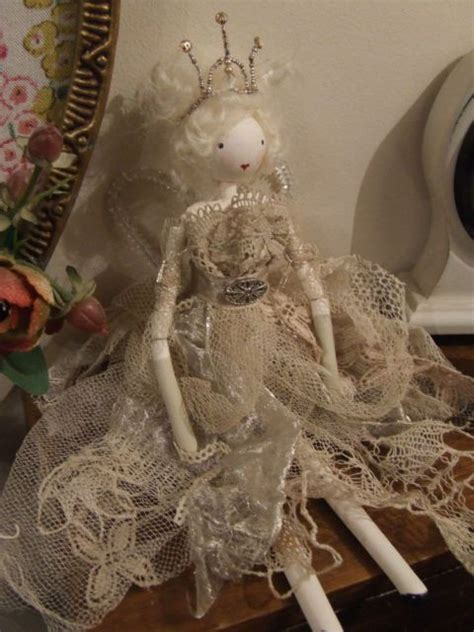 shabby chic doll christmas fairy vintage fabric lace glass