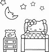 Coloring Pages Bedtime Kitty Hello Sheet Adults sketch template