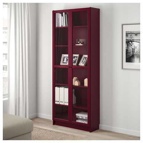 Billy Bookcase With Glassdoors Dark Red 80 X 30 X 202 Cm