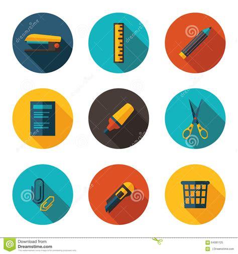 icones de bureau icônes plates de bureau illustration stock image 64081125