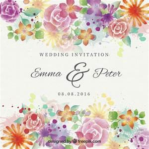 watercolor beautiful flowers wedding invitation vector With beautiful wedding invitation watercolor flowers