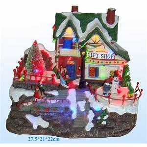 Personnage Pour Village De Noel : maisons lumineuses anim es et musicale pour village miniature de no l ref min105 sur grossiste ~ Melissatoandfro.com Idées de Décoration