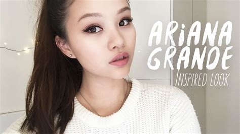 ariana grande inspired makeup  false lashes tutorial english youtube