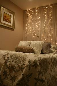 white, lights, and, tulle, hung, as, a, backdrop, behind, your, bed, add, a, touch, of, romance, and, magic