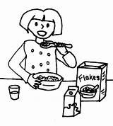 Breakfast Drawing Eating Clipart Boy Coloring Sketch Getdrawings Template sketch template