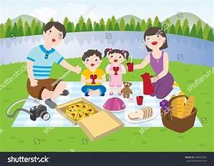 Happy Family Having Picnic Park Stock Vector 348456392 ...