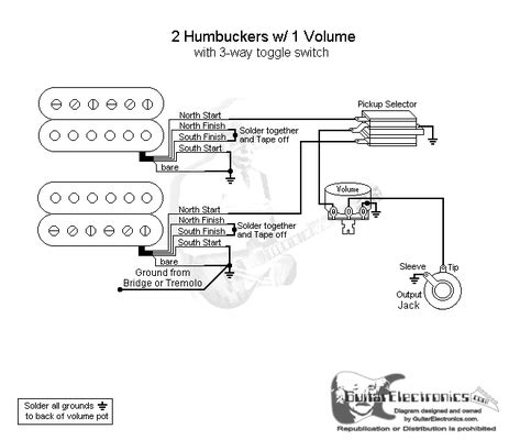 Gibson Humbucker 1 Tone Wiring Diagram Vol by 2 Humbuckers 3 Way Toggle Switch 1 Volume