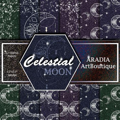 Moon Mandala Patterns Celestial Digital Paper Glitter