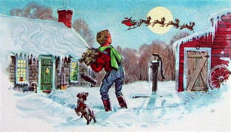 A little boy carrying firewood catches Santa Claus