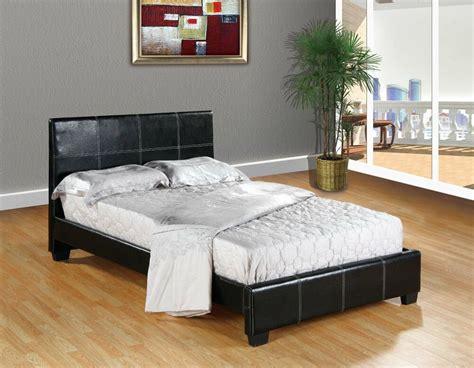 black faux leather queen size platform bed frame slats