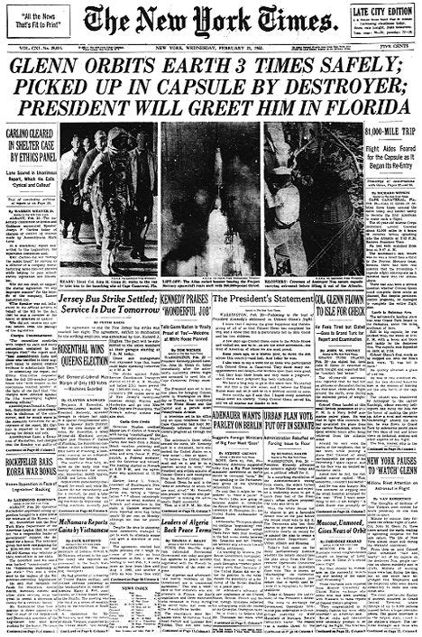 john glenn orbits earth front page image historical