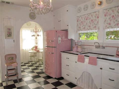 vintage pink, black and white kitchen.   fifties