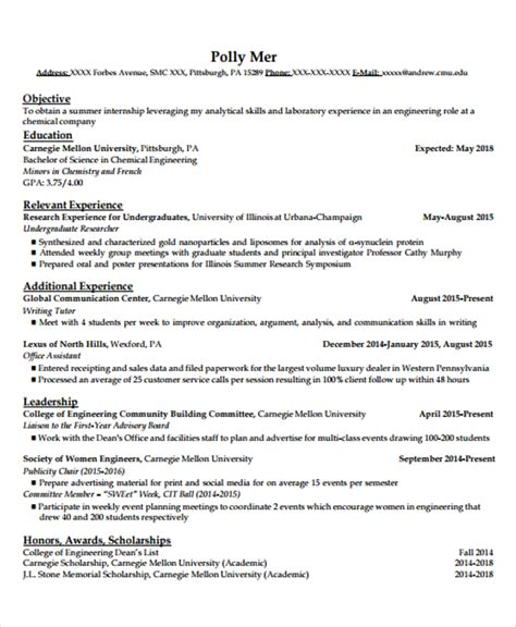 Engineering Internship Resume by 20 Engineering Resume Templates In Pdf Free Premium