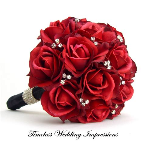 red wedding bouquets red rose bridal bouquet real touch