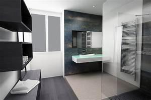 Salle de bain design noir blanc for Salle de bain design avec décoration cinéma maison
