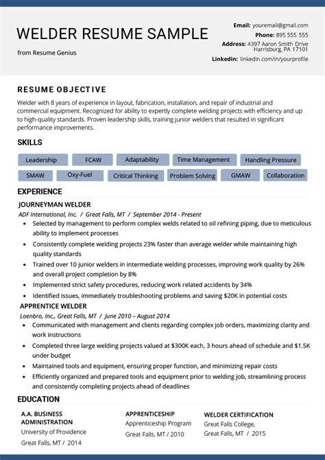 welder resume  writing tips resume genius