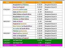 T20 World Cup 2017 Schedule & Time Table Blind YouTube
