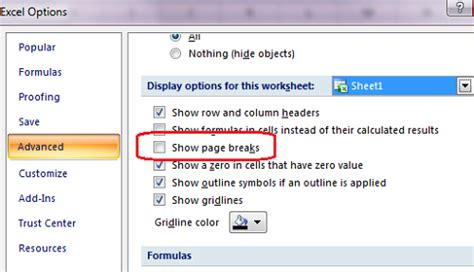 corner display how to remove the print preview lines in excel 2010