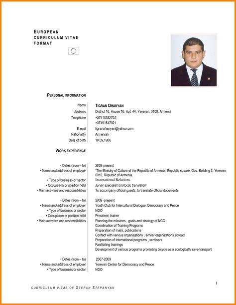 Curriculum Vitae European Format Doc by 9 Exemple Curriculum Vitae Lettre Officielle