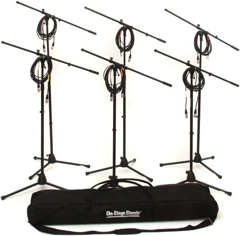 on stage stands ms7701b tripod microphone stand bundle 6 stands 6 cables 1 bag black