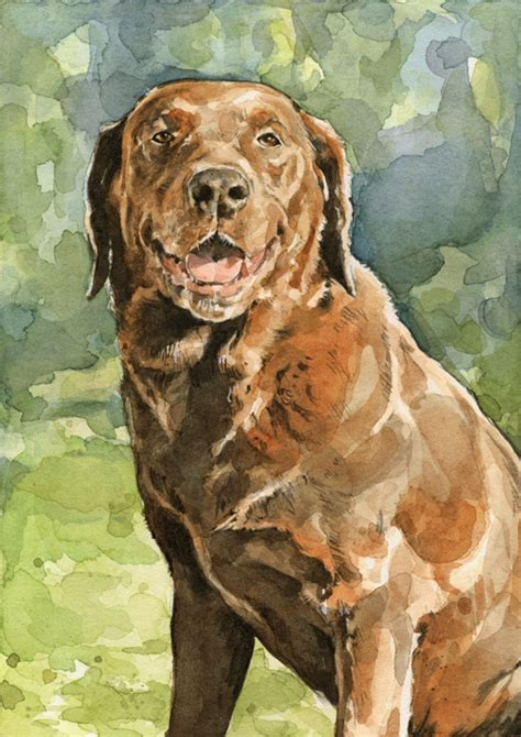 custom lab labrador retriever portrait  watercolor