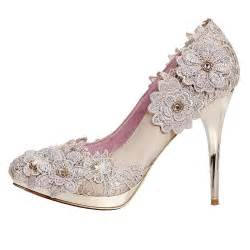 jeweled wedding shoes grceful lace flower chagne heels rhinestone wedding shoes flowerweddingshoes