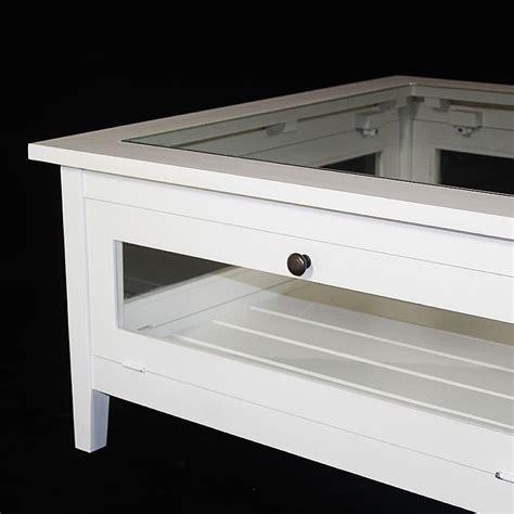 coffre canapé table basse bois massif blanche avec plateau verre made