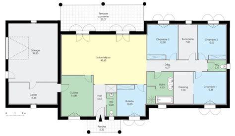 plan de maison plain pied moderne maison contemporaine toit plat plain pied ventana