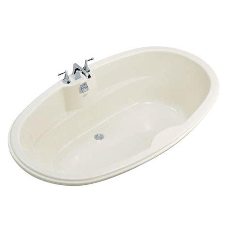 Biscuit Tub by Kohler Proflex 6 Ft Center Drain Drop In Oval Bathtub In