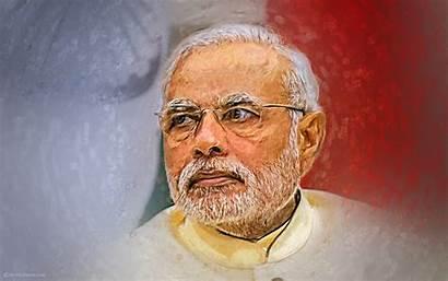 Modi Narendra Painting Blurred Flag Effect National