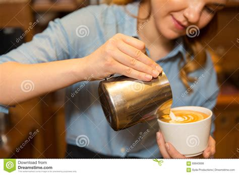 Close Woman Making Coffee Shop Cafe Stock