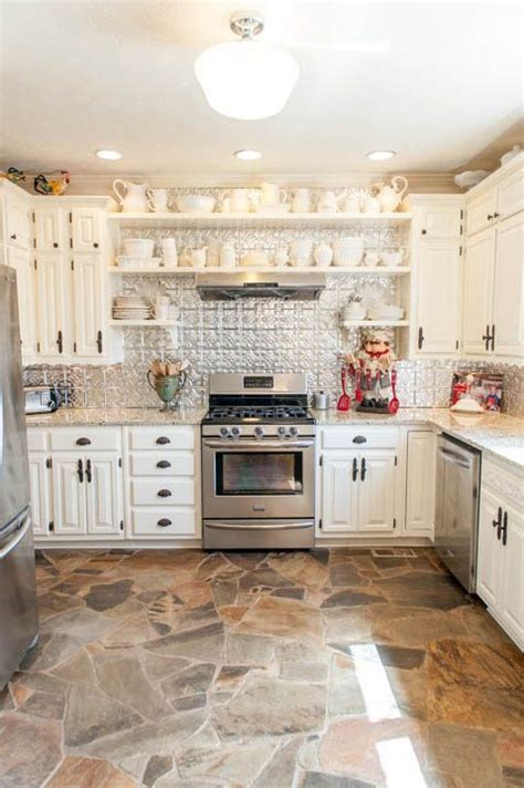True Tennessee Fieldstone floors, creamy cabinets with