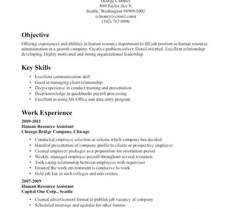 Human Resources Resume Objective by Objective Resume Sle Human Resources Objective For