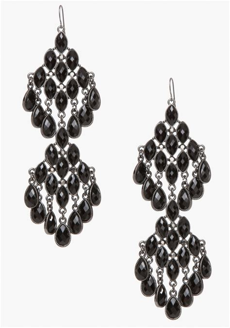 bebe faceted chandelier earrings in black lyst