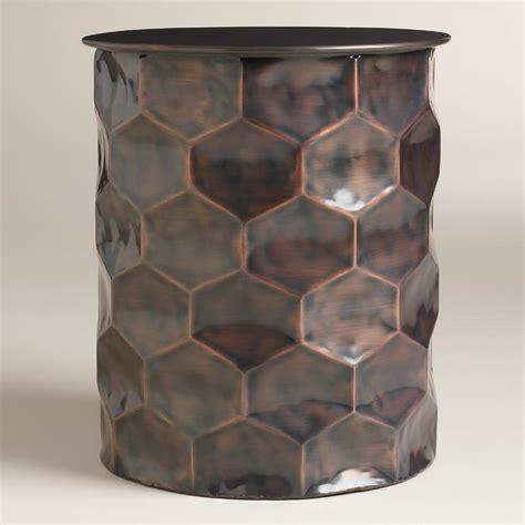 metal rani drum accent table  copper